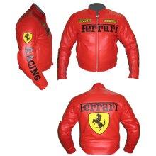 Ferrari Cowhide Leather Motorcycle Riders Racing Jacket Motorbike Biker Sports Coat New , Protective For Men, Red, Black, Yellow