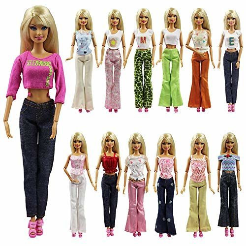 K T Fancy Set Of 5 Quality Handmade Blouse Trousers Pants Outfit Casual Wear For Barbie Clothes Xmas Birthday Gift Present