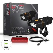 DYZI USB Rechargeable Bike Lights Set Waterproof Bike Light Powerbank 3yr Warranty
