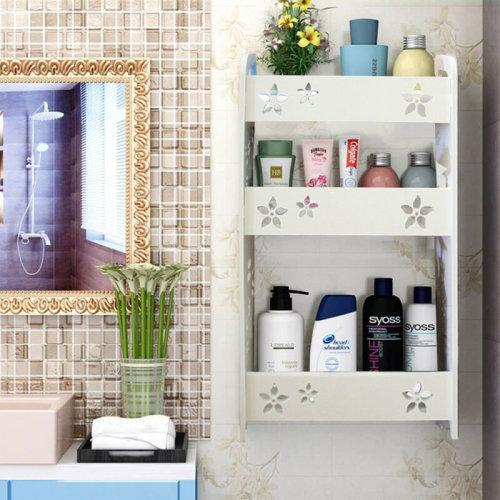Carved Floating Wall Mount Bathroom Storage Rack Display Shelf Shower Caddy