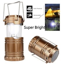 UK-Solar Power LED Camping Lantern Tent Hiking Torch Rechargeable Lamp Light USB