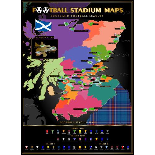 Scottish Football Stadiums Scratch off Poster