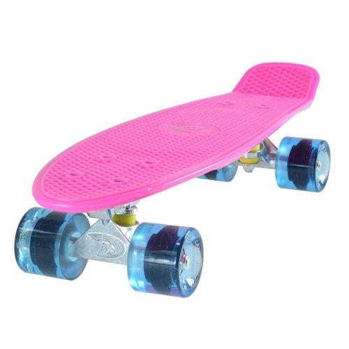"Land Surfer Cruiser Skateboard 22"" PINK BOARD TRANSPARENT BLUE WHEELS"