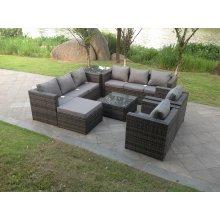Fimous 9 Seater Grey Rattan Corner Sofa Set | Garden Sofa Set