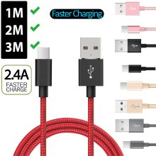 1M (3FT) 2M (6FT) 3M (10FT) Nylon Braided Type C Fast Charger USB Cable 2A Faster Charging Data Sync Extra Long USB-C For Samsung Galaxy S10 Plus S10e