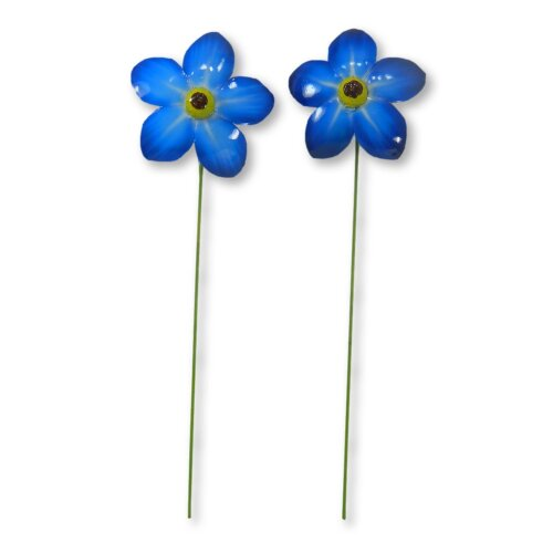 Metal Forget Me Not Flower Decoration Garden Ornament 48cm - Two