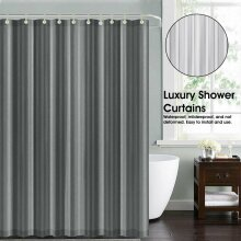 Grey Waterproof Shower Curtains With Free Hooks for your Bathroom