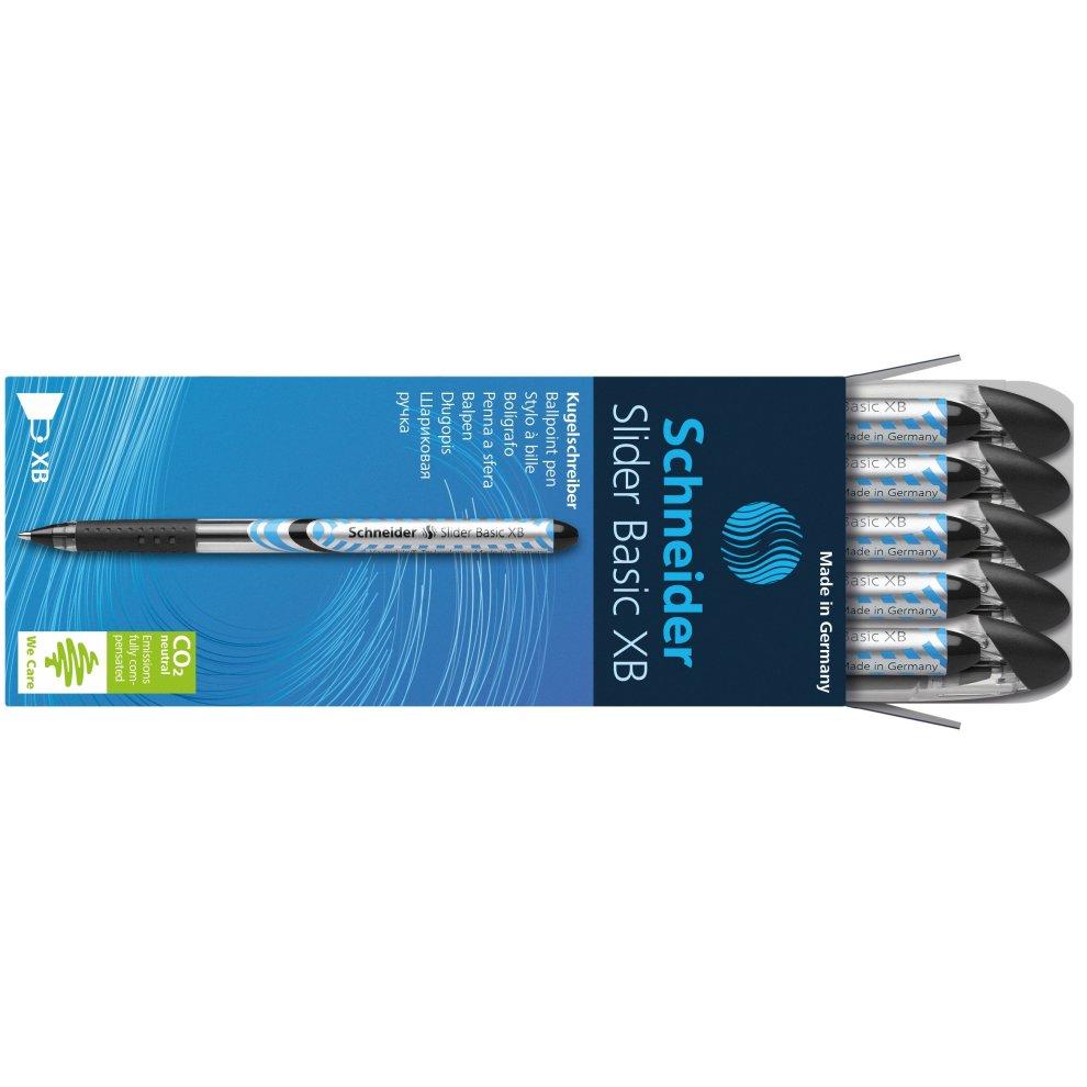 5x Schneider Slider Basic XB Kugelschreiber schwarz 151201 Viscoglide-Technology