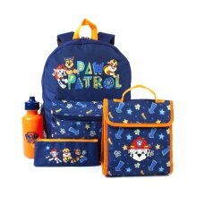Paw Patrol Backpack School Lunch bag Pencil Case Bottle Set Blue 4 Piece