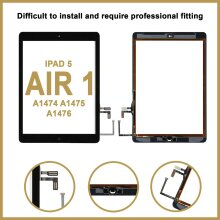 For iPad 5 Air 1  Touch Glass Digitizer Replacement with Home Button-Black