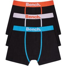 Bench Mens Alain 3 Pack Plain Front Branded Waistband Boxer Shorts - Assorted