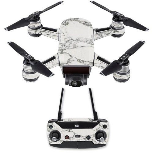 MightySkins DJSPCMB-White Marble Skin Decal for DJI Spark Mini Drone Combo Sticker - White Marble