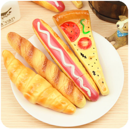 Cute Magnetic Bakery Food Pizza Hot Dog Bread Croissant Novelty Ballpoint Gel Pens With Magnet Pizza