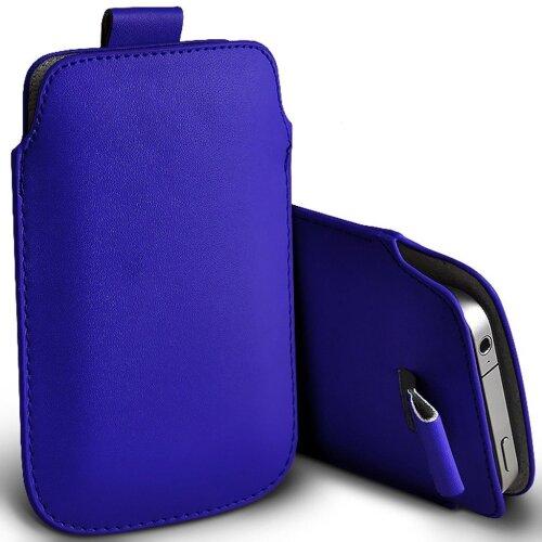 Samsung Galaxy A41 Dark Blue Pull Tab Sleeve Faux Leather Pouch Case Cover (XXXXL)