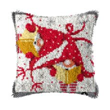 """Latch Hook Complete Cushion Cover Kit """"Christmas Elves""""43x43cm"""