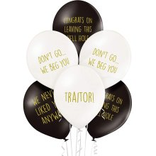 Sass Party & Gifts Office Leaver Funny Balloons - Pack of 12 Premium White And Black Balloons For Leaving Work, Good Luck