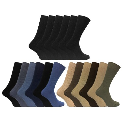 6 Pack Mens Soft 100% Cotton Breathable Coloured Ribbed Dress Socks