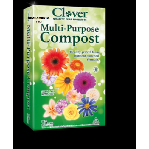 1 BAGS OF CLOVER 75LT MULTI-PURPOSE PEAT COMPOST ENRICHED FORMULA+ WETTING AGENT