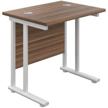 Office Hippo Home Office Desk, White Frame, Dark Walnut Top, 80 x 60 x 73 cm