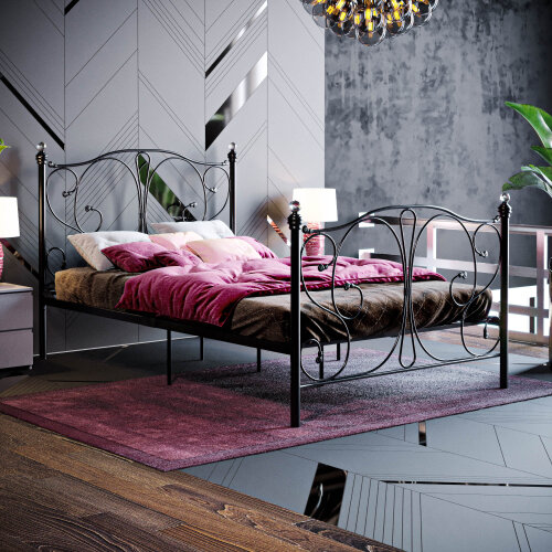 (Small Double, Black) Barcelona Bed Frame Metal Bedroom Modern Bedstead