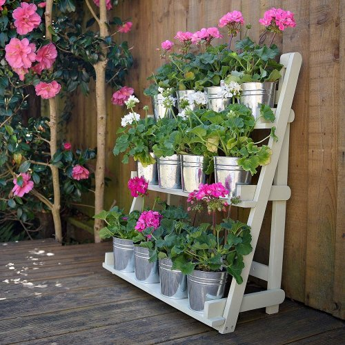 Plant Theatre - Three Tier Hardwood Herb & Plant Theatre in Painted Sage. Fathers Day Gardeners Gift Idea