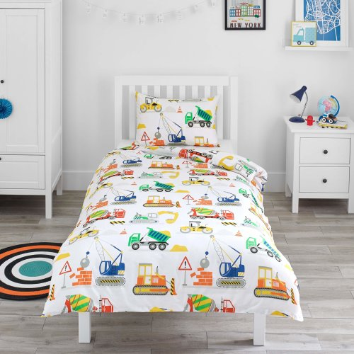 Bloomsbury Mill Construction Vehicles - Trucks, Diggers & Cranes - Kids Bedding Set - Junior/Toddler/Cot Bed Duvet Cover & Pillowcase