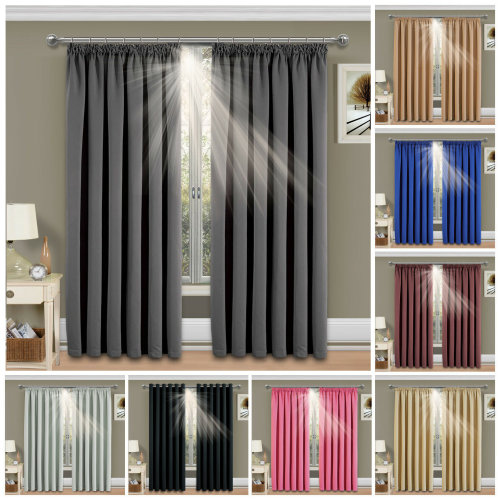 "(Black, 66""x54""(168x137 cm)) Thermal Blackout Pencil Pleat Curtains Pair +2 Tie Backs 260GSM"