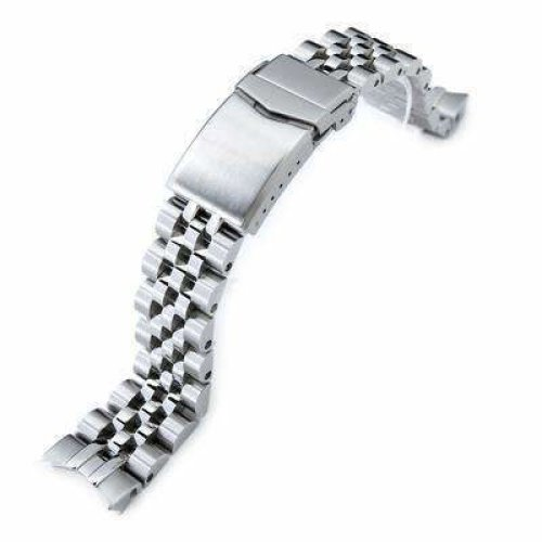 Strapcode Watch Bracelet 20mm ANGUS Jubilee 316L Stainless Steel Watch Bracelet for Seiko Alpinist SARB017, Brushed, V-Clasp