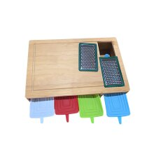 Bamboo Chopping Board, Cutting Board with 4 Containers or Drawers