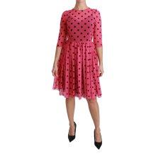 Pink Polka Dots A-line Knee Length Dress
