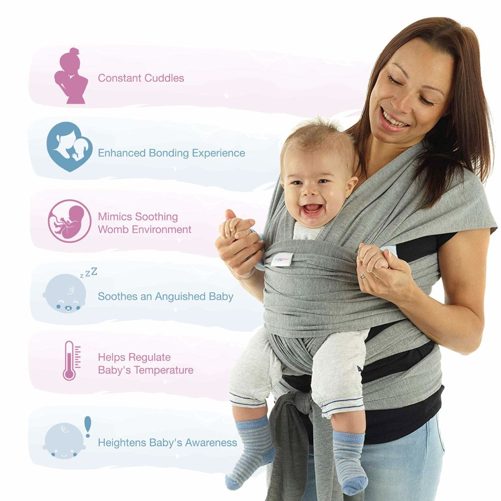 New Baby Sling Wrap Carrier Newborn to 35 lbs Infant with 3 Carrying Positions