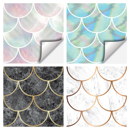 Tile Stickers x30 Large Shell, Fish Scale, Marble & Pearl Effect