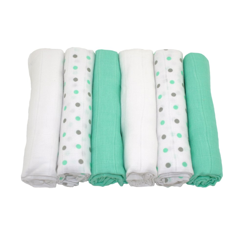 6 Pack Muslinz Premium Muslin Squares 100/% Cotton PINK//WHITE GREEN SPOTS