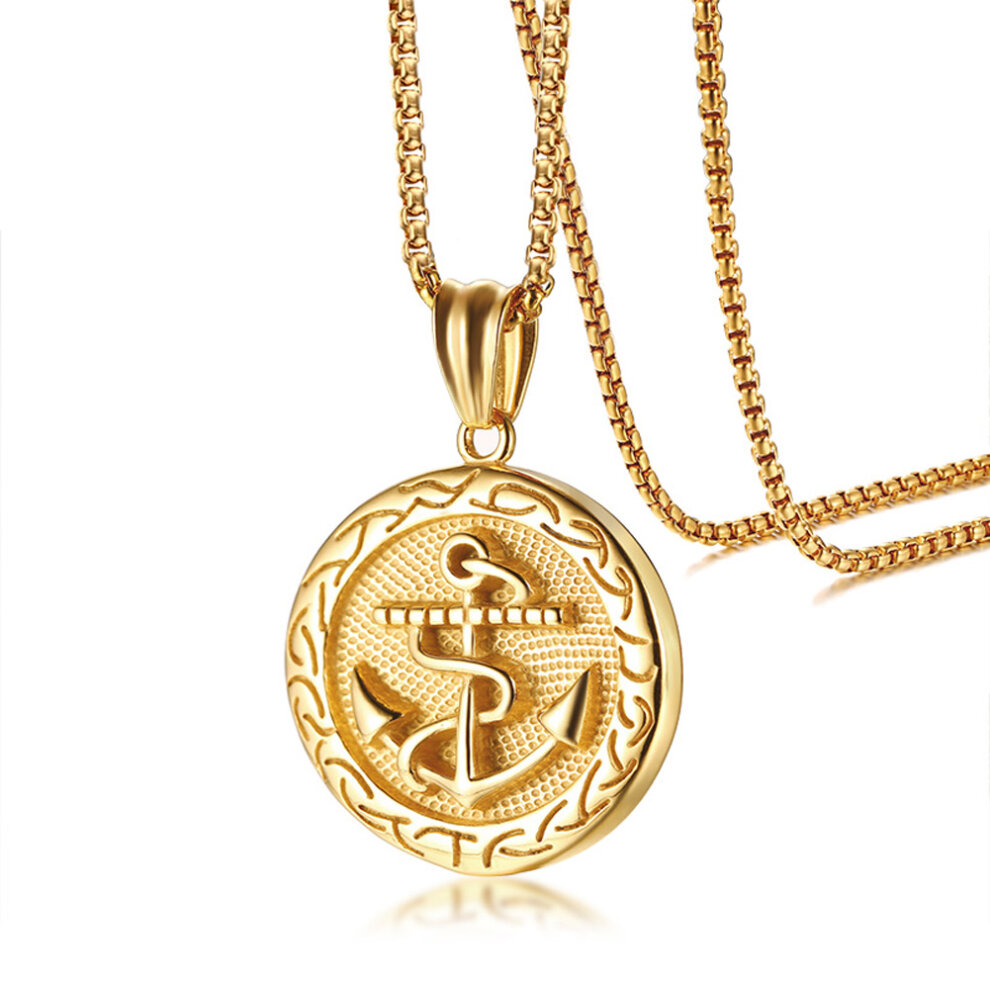 Umtrade Vintage Mens Womens Stainless Steel Nautical Anchor Round Pendant Necklace Jewelry Gold On Onbuy