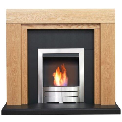Adam Beaumont Oak & Black Fireplace with Downlights & Colorado Bio Ethanol Fire in Brushed Steel, 48 Inch