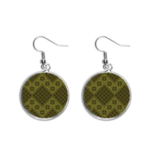 Green Rhombus Triangle Illustration Pattern Ear Dangle Silver Drop Earring Jewelry Woman