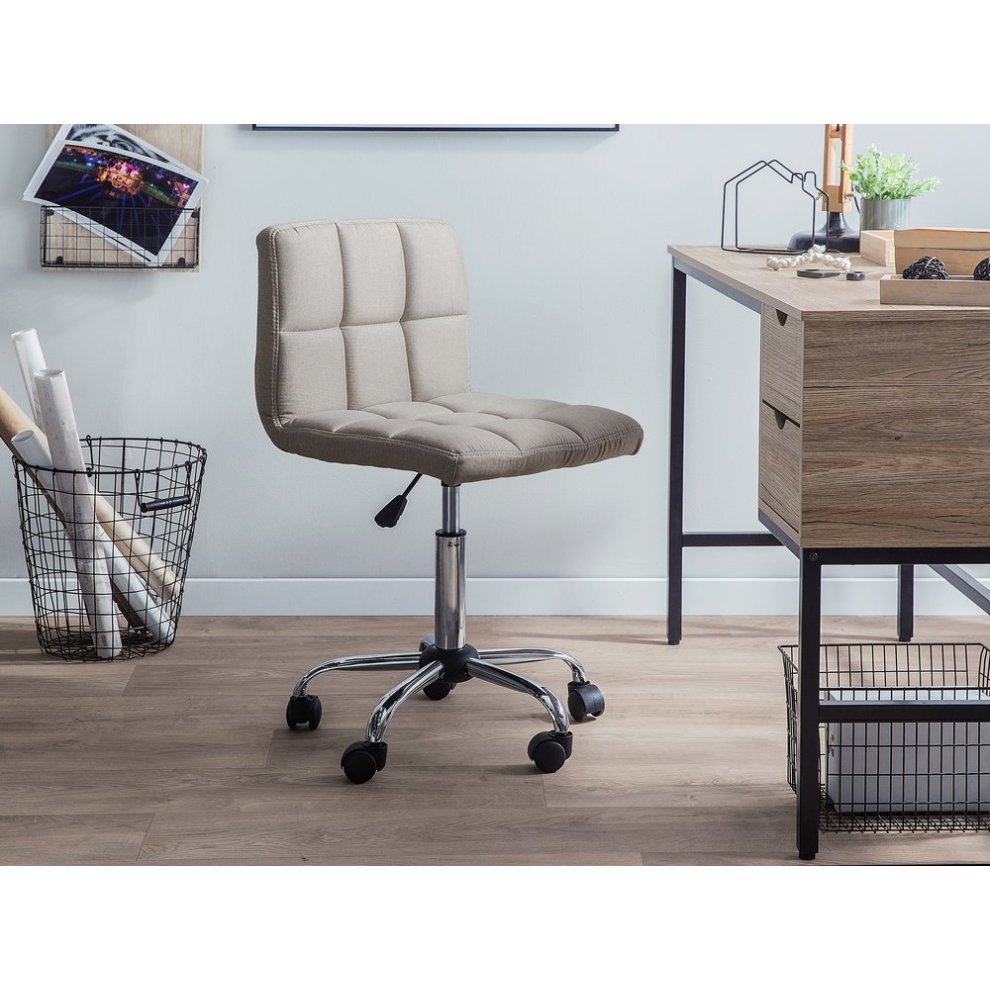 Fabric Armless Desk Chair Beige MARION on OnBuy