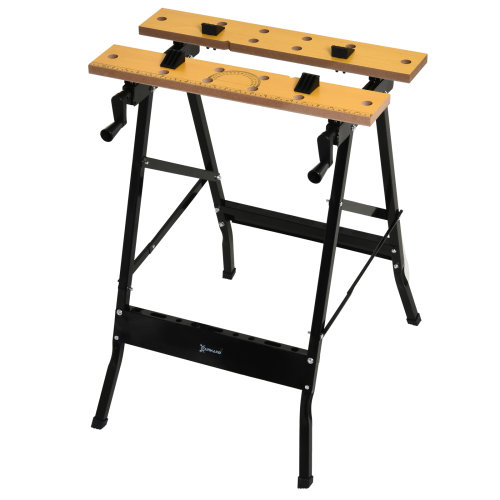 DURHAND 4-in-1 Work Bench Saw Horse Clamp Table w/ Rulings Tool Holes Foldable