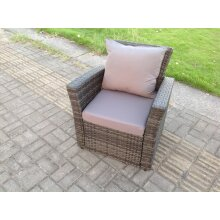 Rattan high back single armchair patio outdoor  furniture with cushion