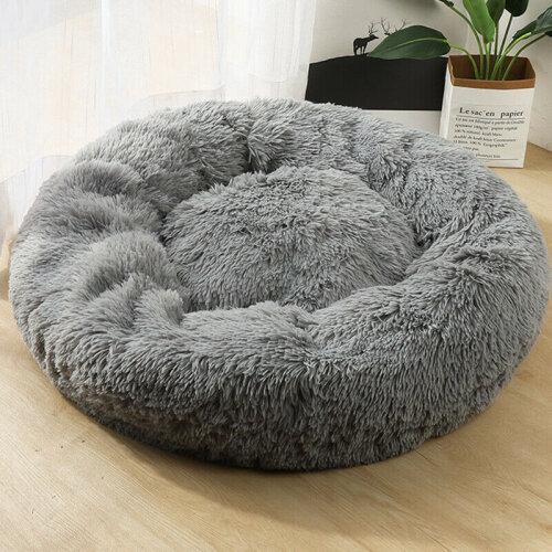 (Light Grey, 60cm) Plush Donut Pet Bed For Dogs & Cats   Dog Basket