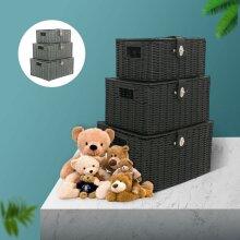 SET OF 3 Storage Baskets Resin Wicker Woven Box