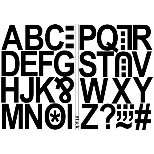 (Black) Alphabet Letters Stickers Label Self Adhesive Peel Off Sticky 5cm High