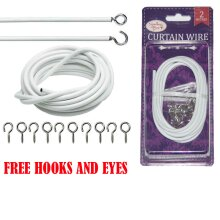2 Metre Window Net Curtain Wire Cord Cable With Free Hooks And Eyes