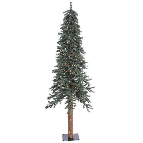 Vickerman B907371 Natural Bark Dura-Lit Alpine Tree with Clear Lights - 7 ft. x 44.5 in.