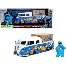 "Jada 1962 Volkswagen Pickup Bus with Cookie Monster Diecast Figurine with Sound \Sesame Street\"" TV Series 1/24 Diecast Model Car by Jada"""
