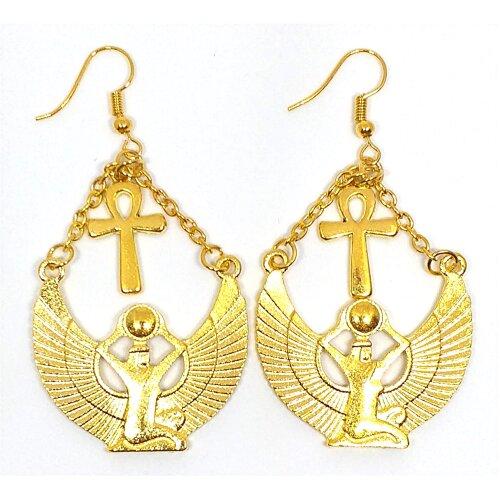 Gold Isis Ancient Egyptian Goddess Ankh Cross Earrings Angel