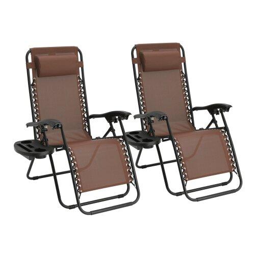 Folding Garden Patio Chair Sun Lounger Recliner Zero Gravity Set of 2