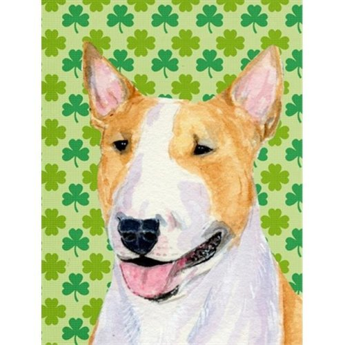 Bull Terrier St. Patricks Day Shamrock Portrait Flag - Garden Size