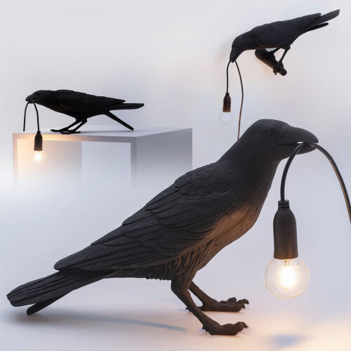 Bird Table/ Wall Lamps Resin Crow Desk Lamp Bedroom Sconce Light
