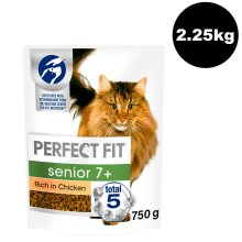 PERFECT FIT Cat Complete Dry Senior 7+ Chicken 3x750g